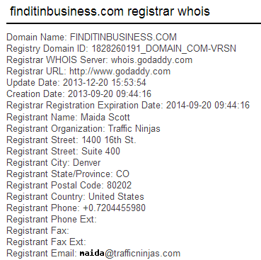 Find it in Business Whois